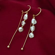 Gold filled keshi fresh water pearl gangle girl pearl ear ring