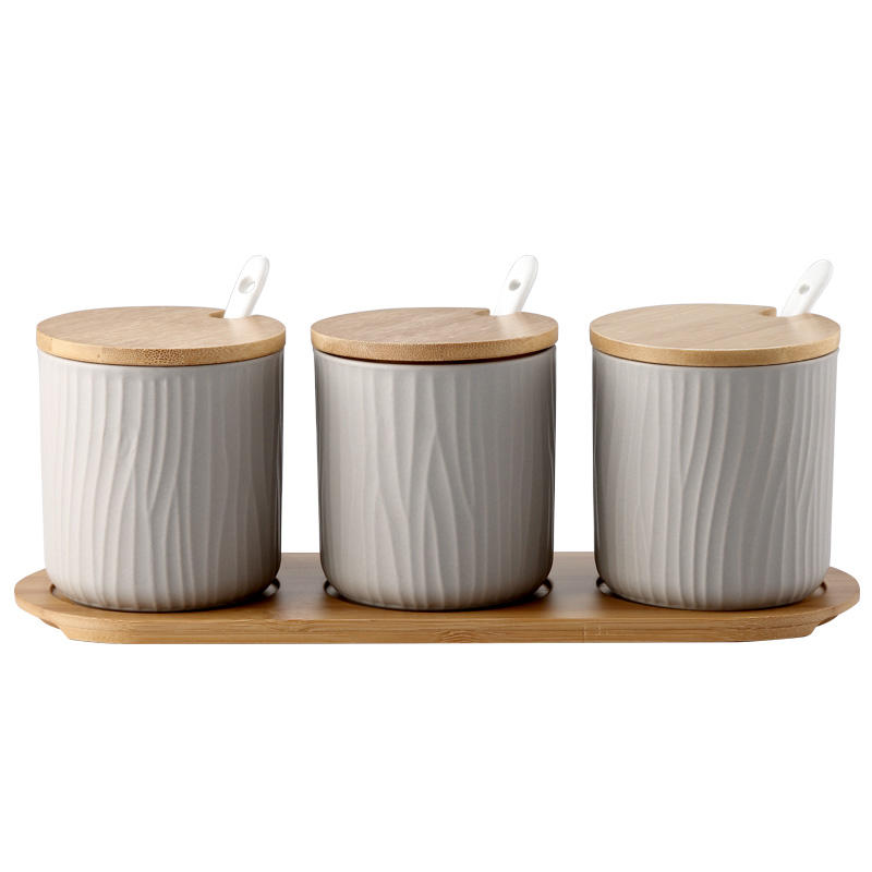 Bamboo Lids Muti-Functional Round Condiment Jar for Storage Canister White Kitchen Containers