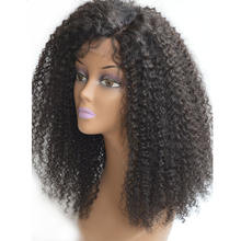 Ali Bliss Wig Manufacturer Unprocessed 16 inch Brazilian Kinky Curly Deep Parting Human Hair Lace Front Wigs with Baby Hair