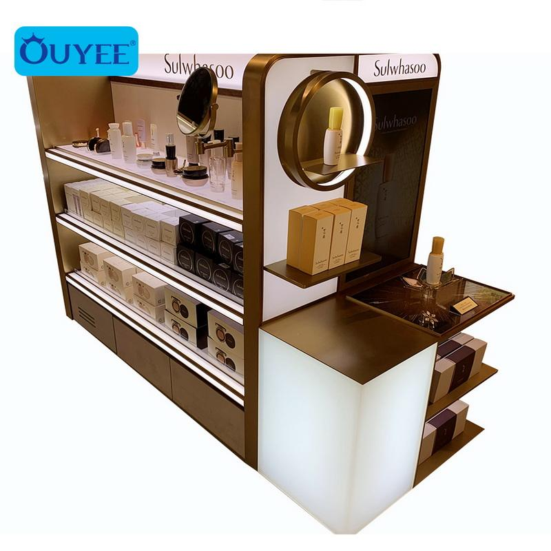 High-end Custom Cosmetic Display Stand Floor Skincare Product Retail Cosmetic Display Shelves Makeup Shelf Display
