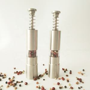 Manual Stainless Steel Salt mill and Thumb Push Pump Pepper Grinder