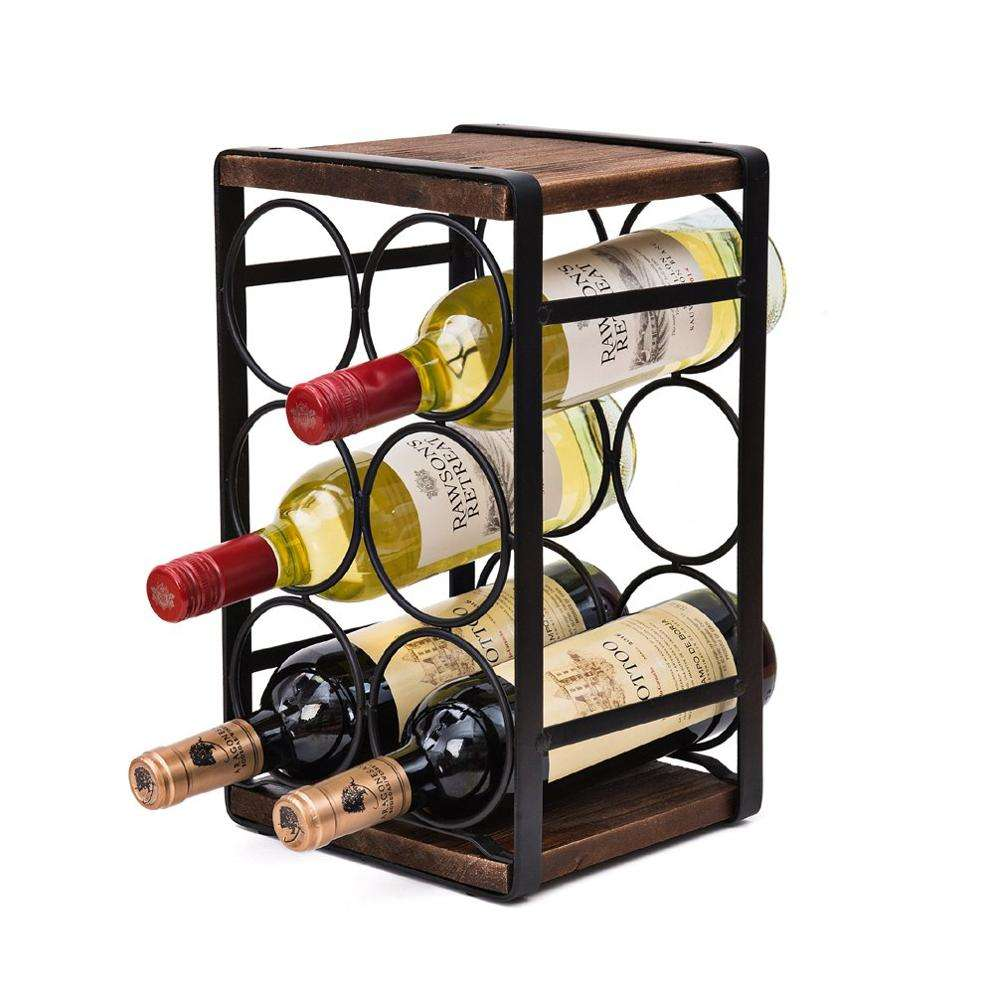 Retail Easy Assembly Rustic Solid Wood 6 Bottles Countertop Metal Wine Rack