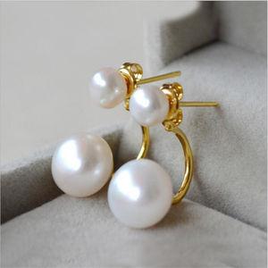 Fashion jewelry design U shaped two pearl earring delicate stainless steel women's earring