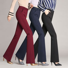 high waist pants pockets office formal pants Leg Slacks for middle aged ladies