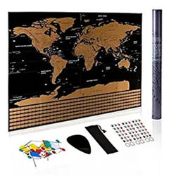 Amazon hot sale OEM customizable scratch off world map poster