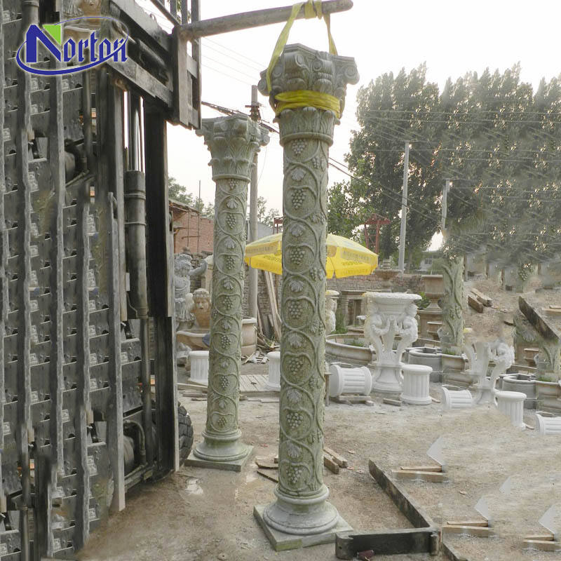 Custom size gate decorative polished grass green marble round stone column with pattern design