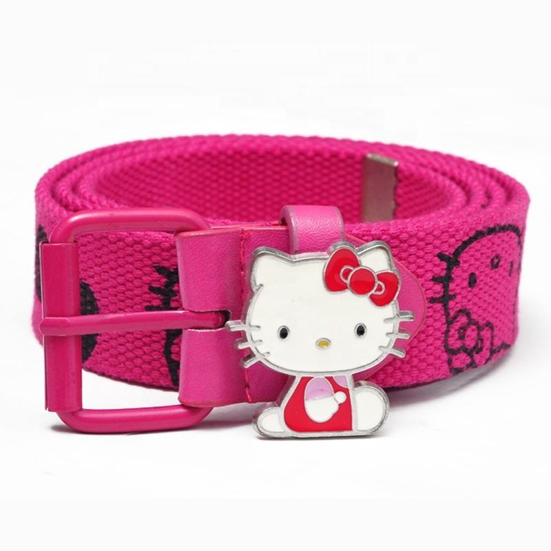 promotional customized fashion printed hot transfer cartoon kids children canvas fabric belt