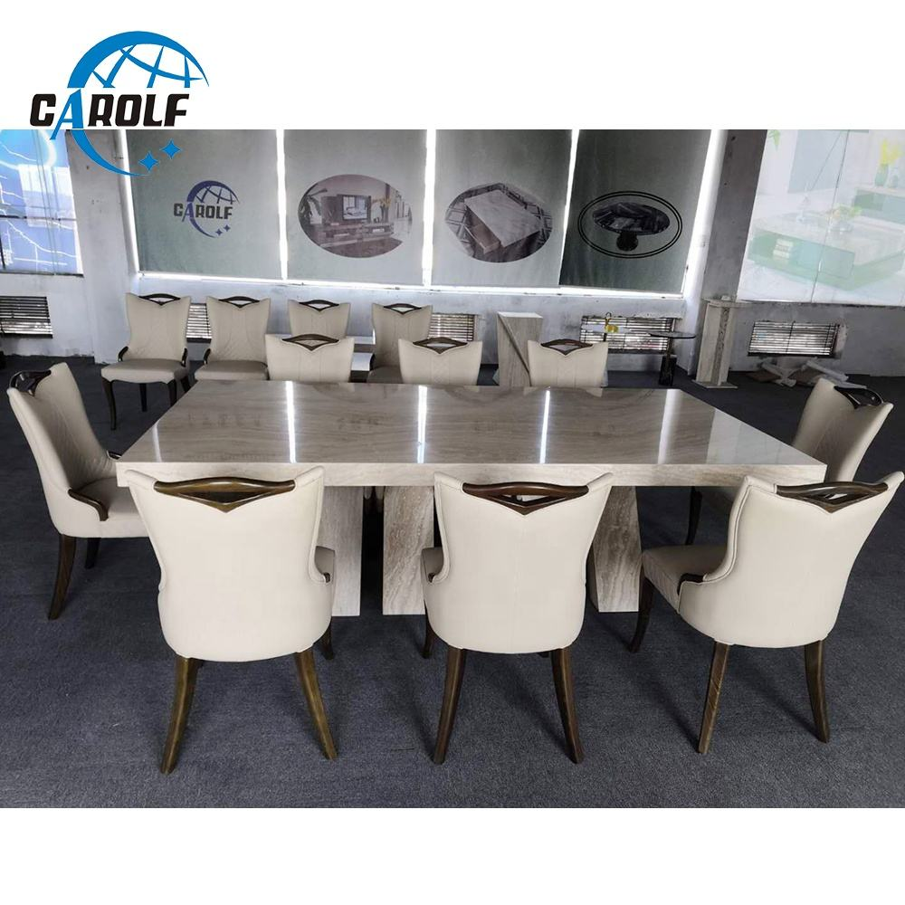 new arrival luxury 10 seater white marble dining table set online sale