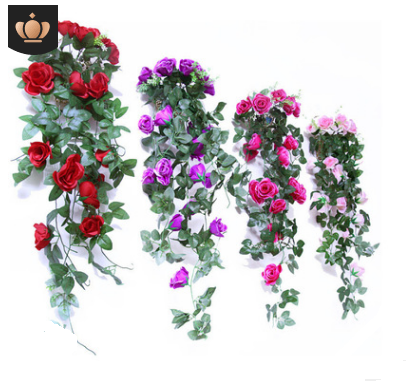 Artificial flower rose wall hanging flower rattan living room balcony home decoration flower
