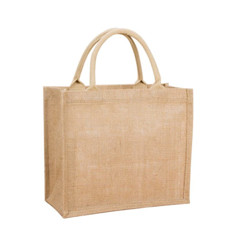 Natural Eco-friendly Large jute tote bag reusable recycled foldable jute shopping bag with leather handles