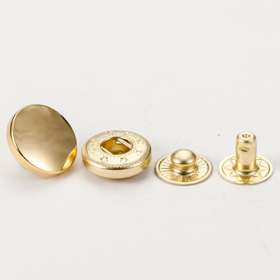 Custom four part plated press golden color alloy metal snap button for coats factory sale directly