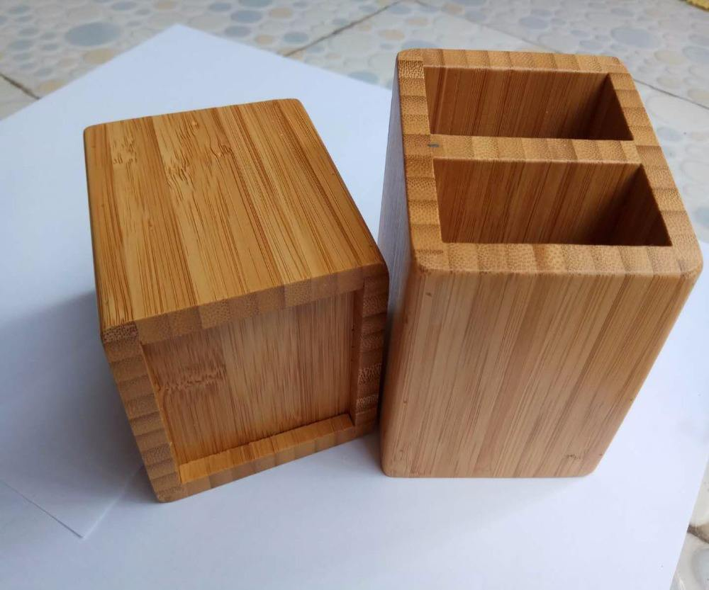 Custom logo wooden pen holder small bamboo pencil holders for personaliztion