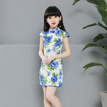 Beauty Flower Knee Length Traditional Dress qipao Chinese Cheongsam for Kids