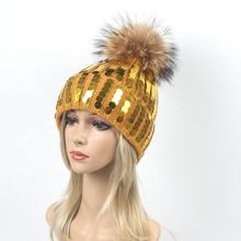New Design Women Multi Color Sequin Acrylic Knitted Hats Real Raccoon Fur Pompom Hat For Winter