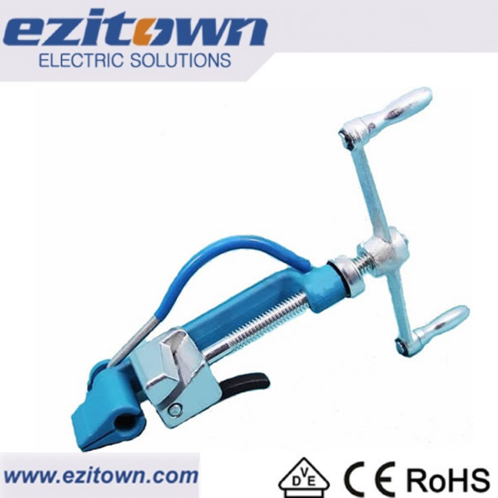 Ezitown HTC Manual steel band ketegangan tangan banding strapping alat untuk Heavy stainless steel cable tie gun
