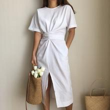 Summer women linen dress split white