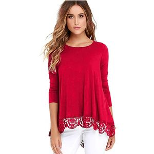 Women Plus Size Loose Long sleeve Knit Blank Pullover Long Tunic Tops With Lace