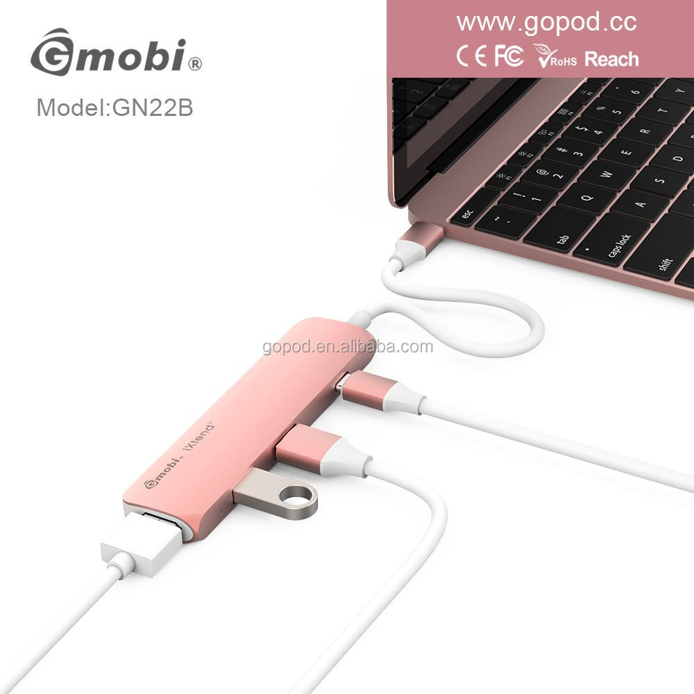 Gopod 2017 usb סוג c טעינה כדי 3 יציאת usb 3.0 hdmi bluetooth מתאם usb 3.0 רכזת