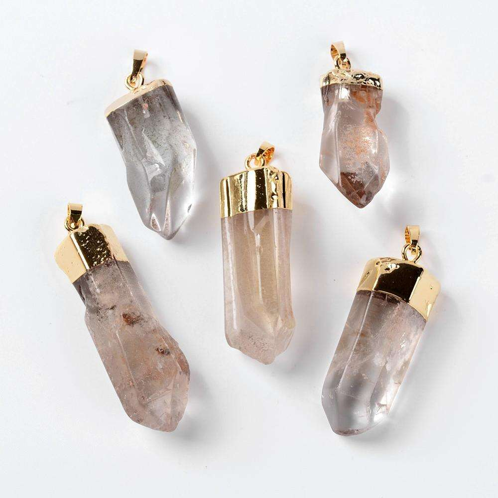 PandaHall Natural Crystal Pencil Pendants with Brass Findings Faceted Bullet Clear Golden Metal Color 38~55x10~17mm Hole