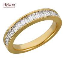 High Quality Popular Design Elegant 18K Gold Real Diamond Anniversary Band Ring