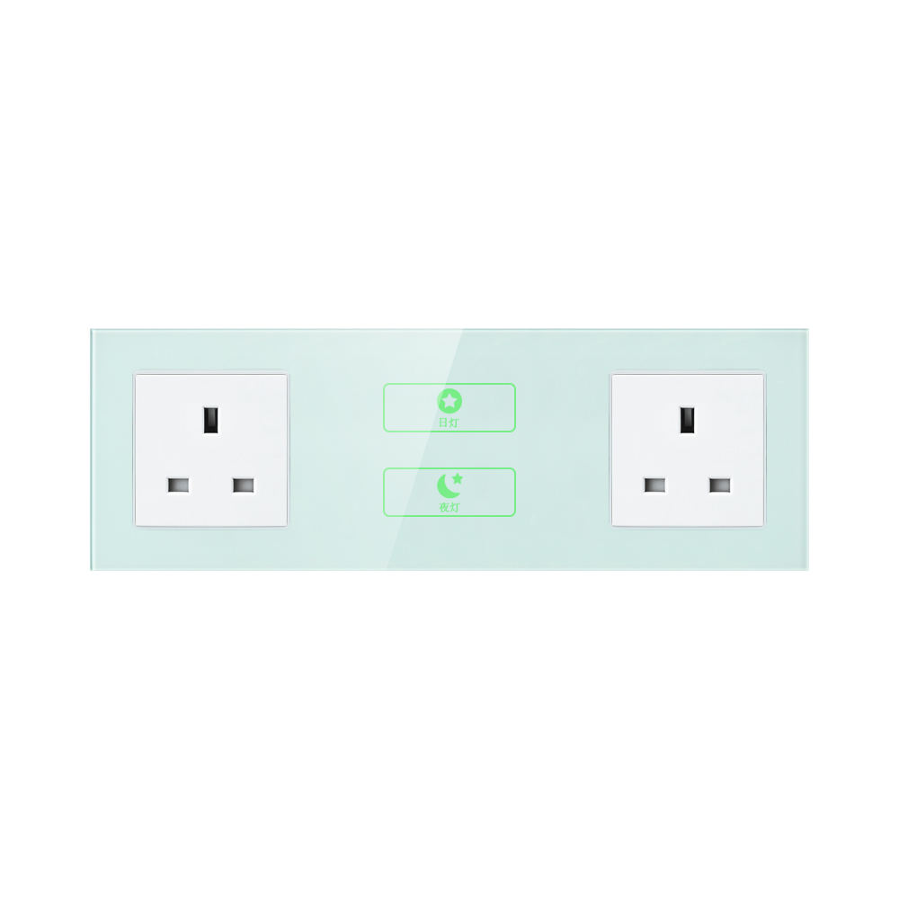 FIKO Hotel wall type 86 green bedroom living room 220V conjoined touch control switch panel British Hong Kong power outlet