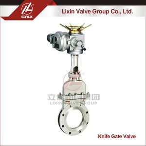 Accept custom port size CF3M electric bonnet type knife gate valve