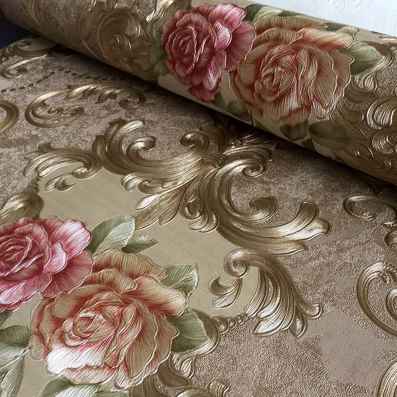 3d natural European style the beautiful flower wallpaper 270g pvc wall paper for hotel restaurant decor