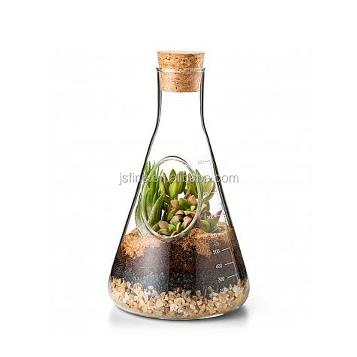handmade borosilicate glass conical flask bottle terrarium vase with cork lid
