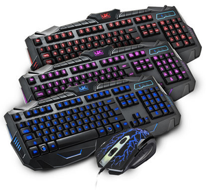 Lampu Latar LED USB Wired Gaming Keyboard dan Mouse Combo