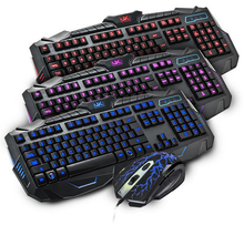 LED backlight usb wired gaming keyboard and mouse combo
