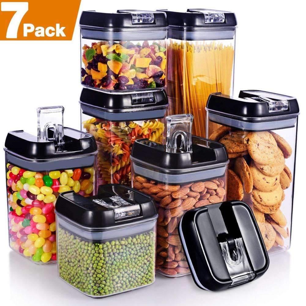 2020 Hot Sale 7-Pieces Air-Tight Food Storage Container Set /Dry Goods Pantry Organization/Plastic clear kitchen food box