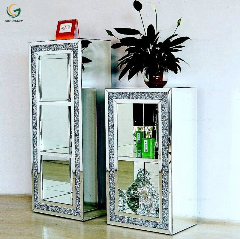 Diamond crushed crystal mirrored modern stand table 2 tier 3 tier display unit cabinet