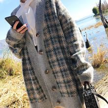 Autumn/winter 2020 new Korean loose knit coat, women's mid-length retro plaid wholesale sweater cardigan
