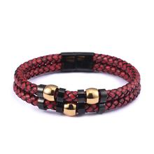 High Quality Stainless Steel Buckle Red Braided Rope Leather Bracelet Accessories