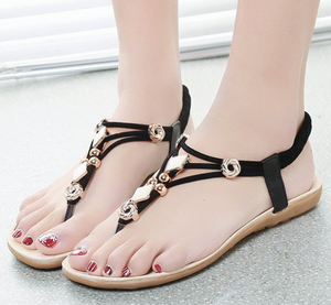 2019 Wholesale New Fashion Low Heel Bling woman flat rope sandals For Girls And Women Walking Summer Beach Holiday