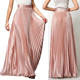 Custom Plus size summer long maxi pleated women's skirts satin skirt
