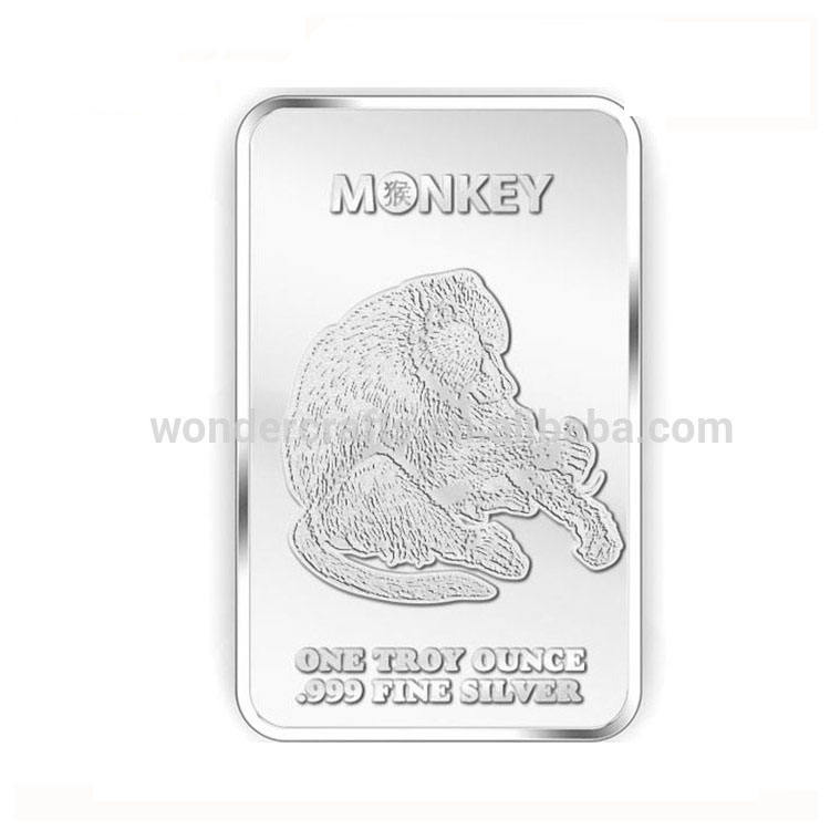 new products OEM/ODM business gift monkey art collections die cut mirror effect 1 oz silver bar