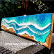 Ocean beach epoxy resin pour clear resin wood table top image art painting