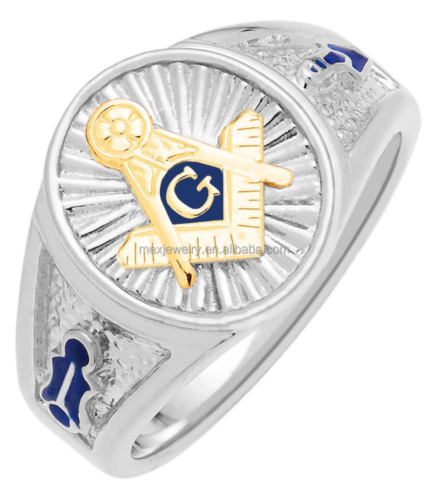 Men's Sterling Silver / Steel Gold Masonic Freemason Mason Ring
