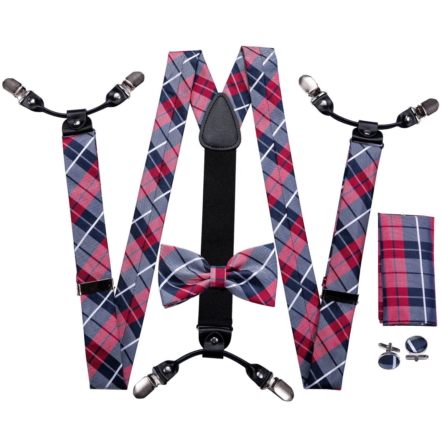 Wholesale Clips Elastic Braces Custom Leather Men Suspenders and Bow Tie Set