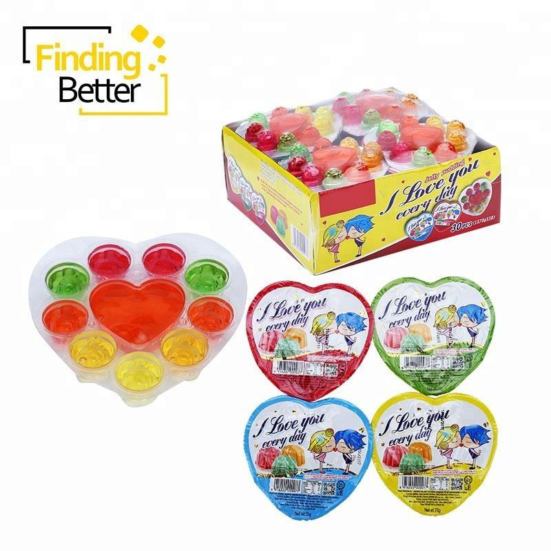 Chinese Leverancier Halal Fruitsmaak Pudding Fruit Jelly Pudding Cup Snoep Hart en Rose Shape Jelly