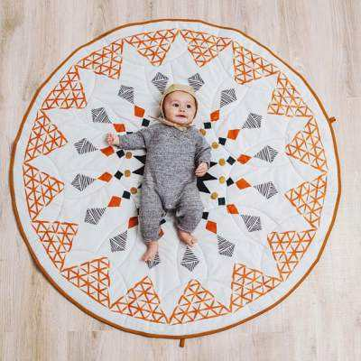 Hot 90cm Geometric Design Baby play Mat Puzzle, 100% Organic Cotton Round Mat For Bedroom Decor,baby play mat