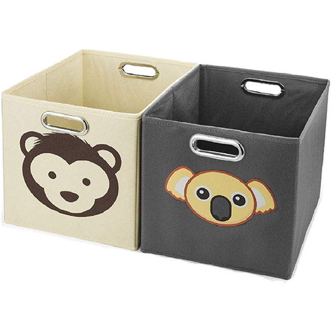 Creatively Designed Cute Animal Pattern Collapsible Canvas Kids Toy Storage Cube for Shelves