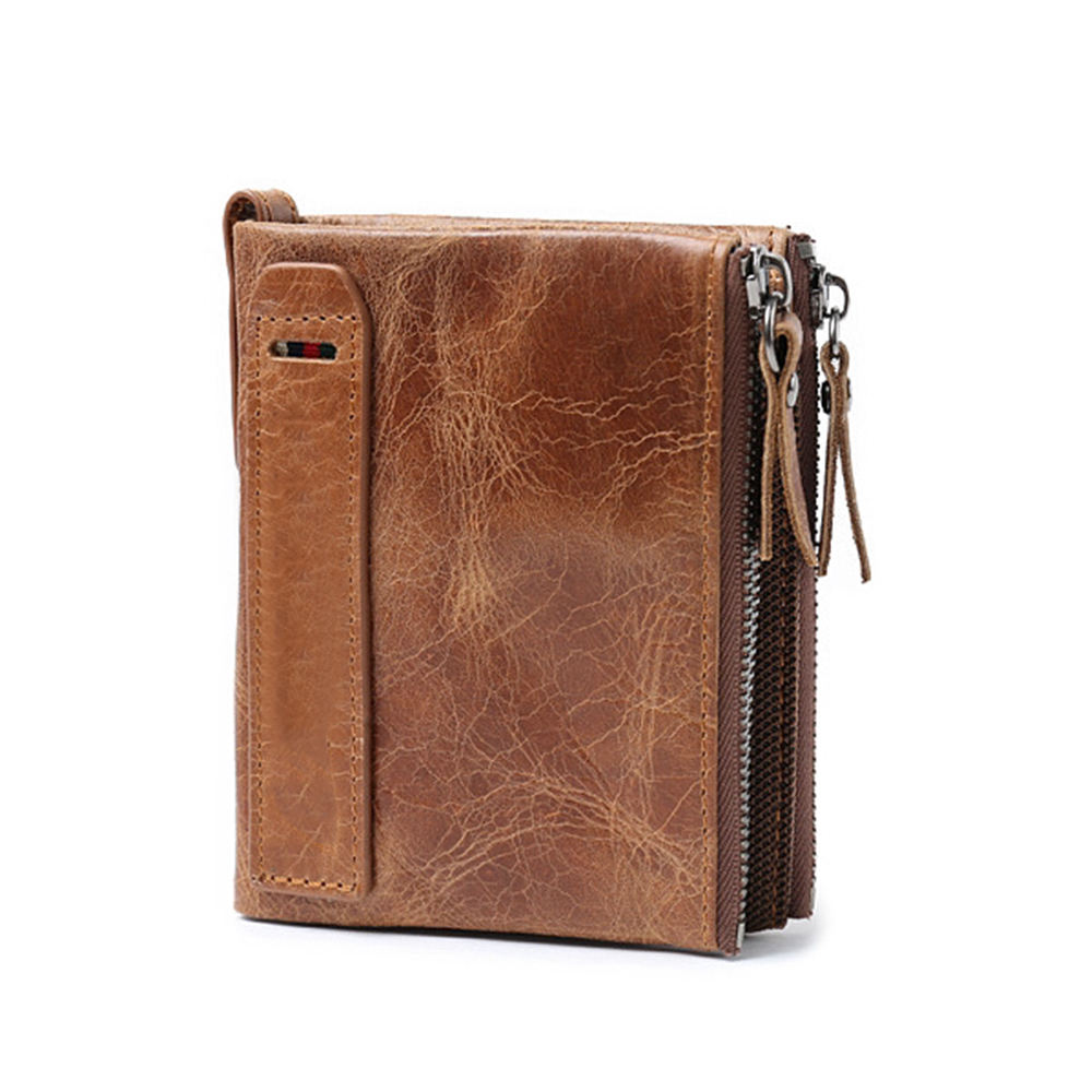 slim oil leather zip men wallet leather front pocket wallet Bifold