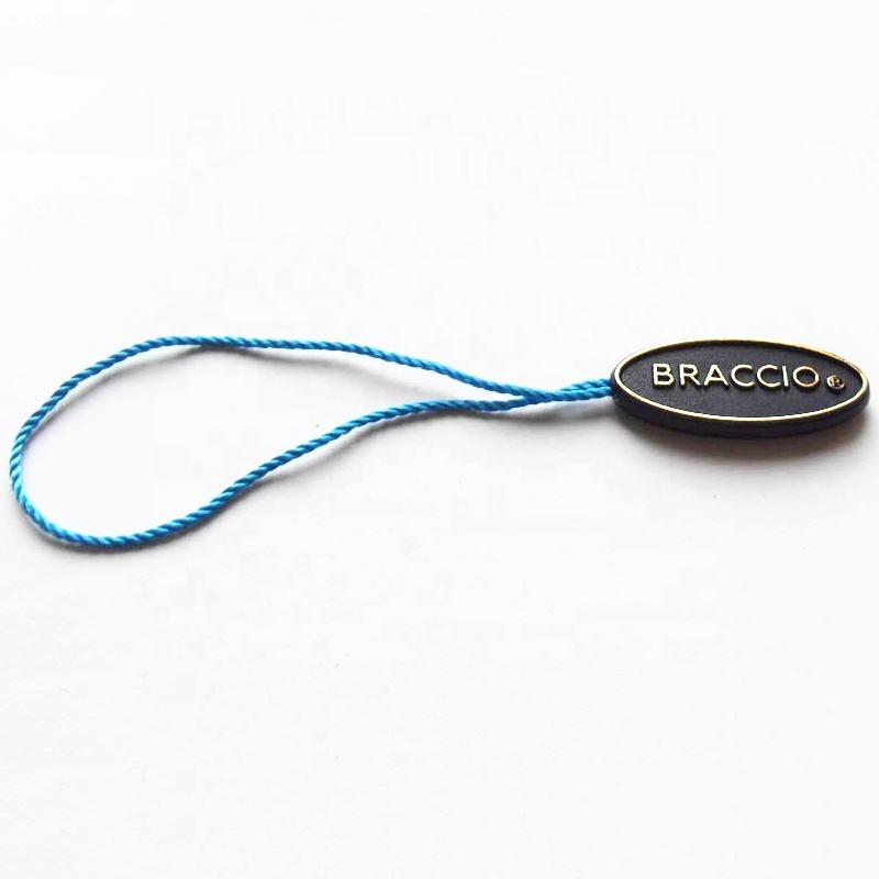 Custom Embossed Logo String Lock Plastic Hang Labels Watch String Seal Tag with Nylon String