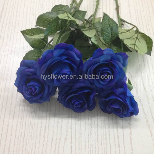 Latex real touch rose flowers royal blue decorative artificial flower making