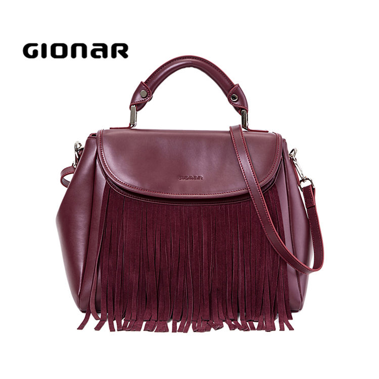 2019 Gionar Hot Style Large Women's High Quality Great Full Suede Leather Tote Bags Top Spring Fringe Handbags Custom Ladies