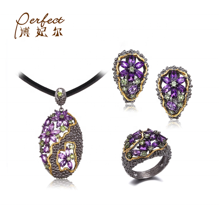 Sterling Silver Fashion Amethyst Stone 925 Sterling Silver Jewelry Set For Women