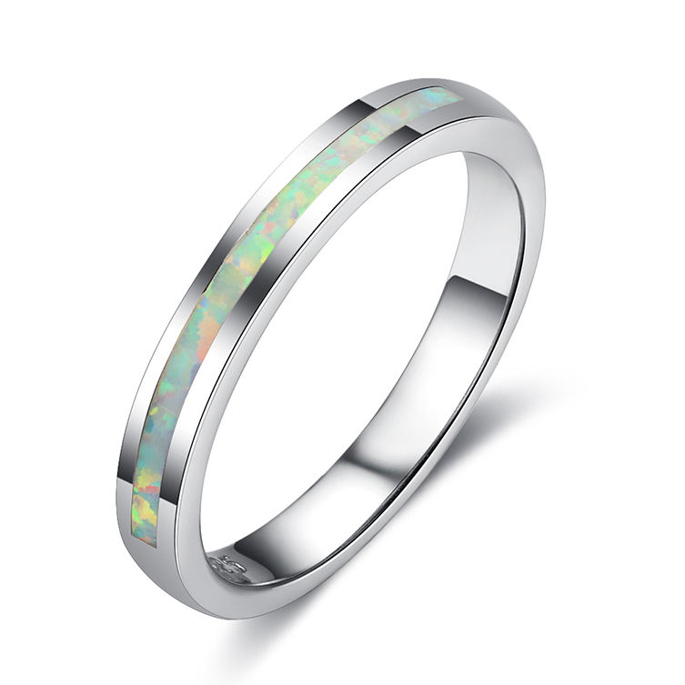 High quality white gold plating 925 sterling silver opal thin band gay men ring