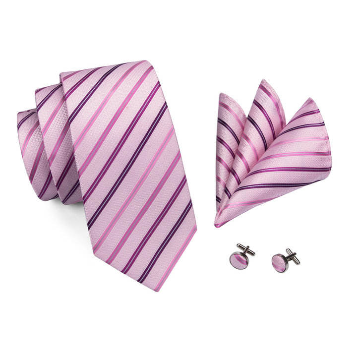 Popular Fashion Pink Mens Silk Neckties Slim Red Striped Tie with Pocket Square